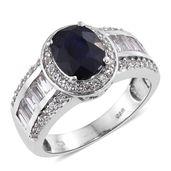 Masoala Sapphire, White Topaz Platinum Over Sterling Silver Ring (Size 5.0) TGW 6.06 cts.
