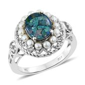 Australian Mosaic Opal, Freshwater Pearl Platinum Over Sterling Silver Ring (Size 6.0) TGW 2.40 cts.