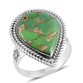 Santa Fe Style Mojave Green Turquoise Sterling Silver Ring (Size 10.0) TGW 1.75 cts.