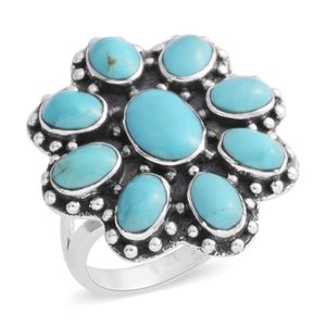 Santa Fe Style Kingman Turquoise Sterling Silver Ring (Size 8.0) TGW 7.00 cts.