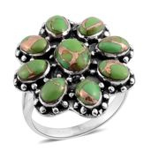Santa Fe Style Mojave Green Turquoise Sterling Silver Ring (Size 7.0) TGW 7.00 cts.
