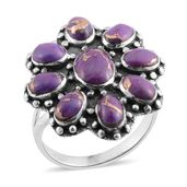 Santa Fe Style Mojave Purple Turquoise Sterling Silver Ring (Size 7.0) TGW 7.00 cts.