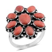 Santa Fe Style Spiny Oyster Shell Red Sterling Silver Ring (Size 9.0)
