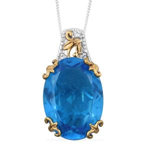 Caribbean Quartz, Cambodian Zircon 14K YG and Platinum Over Sterling Silver Pendant With Chain (20 in) TGW 13.01 cts.