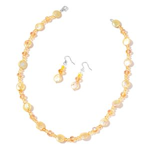 Freshwater Coin Golden Pearl, Champagne and Yellow Glass Beads Stainless Steel Earrings and Necklace (18 in)