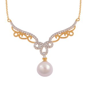 Edison Pearl (12-13 mm), White Zircon 14K YG Over Sterling Silver Necklace (18 in) TGW 1.32 cts.