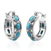 Arizona Sleeping Beauty Turquoise Platinum Over Sterling Silver Huggies Hoop Earrings TGW 2.67 cts.