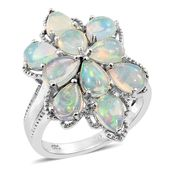 Ethiopian Welo Opal Platinum Over Sterling Silver Flower Ring (Size 5.0) TGW 4.25 cts.