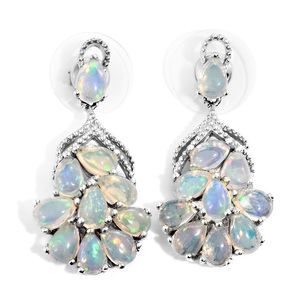Ethiopian Welo Opal Platinum Over Sterling Silver Earrings TGW 4.75 cts.