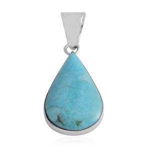 Santa Fe Style Kingman Turquoise Sterling Silver Pendant without Chain TGW 2.15 cts.