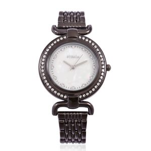 STRADA Austrian Crystal Japanese Movement Water Resistant Watch with Dark Silvertone and Stainless Steel Back TGW 2.00 cts.