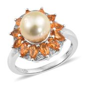 Golden South Sea Pearl (9-9.5 mm), Salamanca Fire Opal, Cambodian Zircon Platinum Over Sterling Silver Ring (Size 6.0) TGW 1.75 cts.