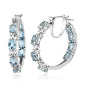 Premium AAA Espirito Santo Aquamarine Platinum Over Sterling Silver Inside Out Hoop Earrings TGW 4.64 cts.