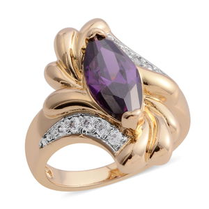 Simulated Amethyst, Simulated Diamond Goldtone Fancy Bypass Ring (Size 7.0) TGW 1.53 cts.