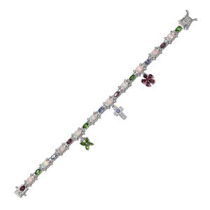 Ethiopian Welo Opal, Multi Gemstone Platinum Over Sterling Silver Bracelet (7.25 In) TGW 8.12 cts.