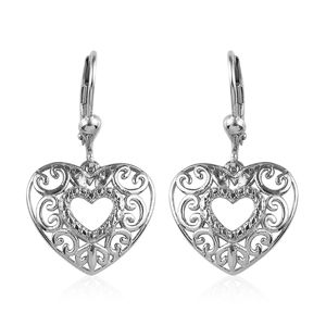 Platinum Over Sterling Silver Openwork Heart Earrings