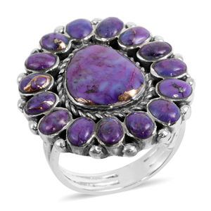 Santa Fe Style Mojave Purple Turquoise Sterling Silver Ring (Size 11.0) TGW 2.28 cts.