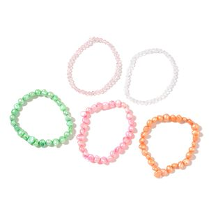 Set of 5 Freshwater Multi Color Pearl, White and Pink Beads Bracelets (Stretchable)