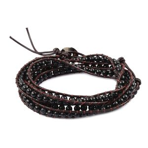 Burmese Black Jade Black Rhodium Genuine Leather, Sterling Silver Wrap Bracelet or Necklace (30.00 In) TGW 129.50 cts.