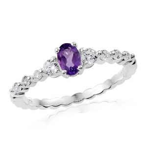 Rose De France Amethyst, Simulated Diamond Sterling Silver Beaded Band Ring (Size 7.0) TGW 1.21 cts.