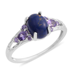 Mojave Midnight Turquoise, Simulated Amethyst Silvertone Ring (Size 7.0) TGW 2.72 cts.