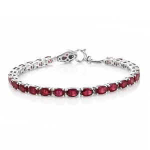 Niassa Ruby, Thai Black Spinel Platinum Over Sterling Silver Tennis Bracelet with Snake Spring Ring Clasp (7.50 In) Total Gem Stone Weight 18.74 Carat