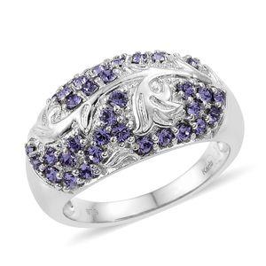 KARIS Collection - Platinum Bond Brass Ring (Size 7.0) Made with SWAROVSKI Tanzanite Crystal