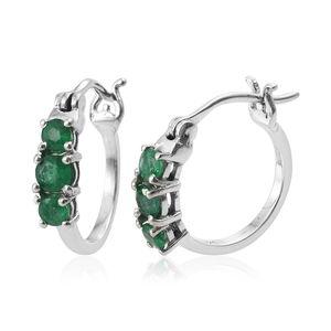 Premium Brazilian Emerald Platinum Over Sterling Silver Hoop Earrings TGW 0.90 cts.
