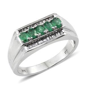 Premium Brazilian Emerald, White Topaz Platinum Over Sterling Silver Men's Ring (Size 14.0) TGW 1.45 cts.