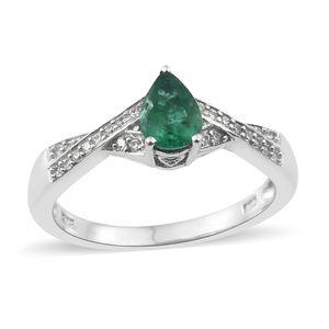 Premium Brazilian Emerald, Cambodian Zircon Platinum Over Sterling Silver Ring (Size 7.0) TGW 0.78 cts.