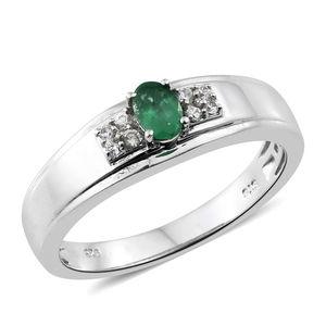 Premium Brazilian Emerald, Cambodian Zircon Platinum Over Sterling Silver Men's Ring (Size 11.0) TGW 0.60 cts.