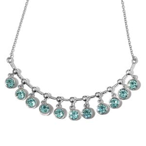 Stainless Steel Necklace (18 in) Made with SWAROVSKI Aquamarine Crystal