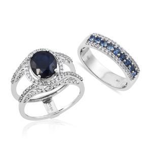 Customer Appreciation Day Kanchanaburi Blue Sapphire, Cambodian Zircon Platinum Over Sterling Silver Removable Ring (Size 7.0) TGW 6.25 cts.