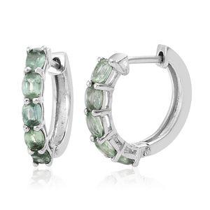 Green Kyanite Platinum Over Sterling Silver Hoop Earrings TGW 2.35 cts.