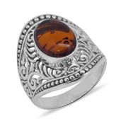 Bali Legacy Collection Baltic Amber Sterling Silver Ring (Size 11.0)