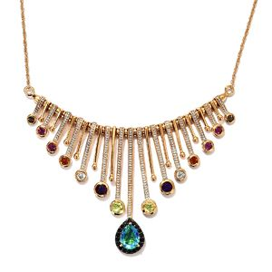 GP Peacock Quartz, Multi Gemstone Vermeil YG Over Sterling Silver Necklace (18 in) TGW 4.49 cts.