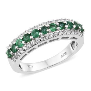 Premium Brazilian Emerald, Cambodian Zircon Platinum Over Sterling Silver Ring (Size 6.0) TGW 1.15 cts.