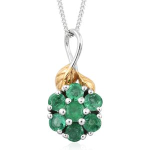 Premium Brazilian Emerald 14K YG and Platinum Over Sterling Silver Flower Pendant With Chain (20 in) TGW 0.50 cts.