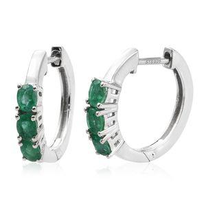Premium Brazilian Emerald Platinum Over Sterling Silver Latch Back Hoop Earrings TGW 1.02 cts.