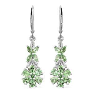 Merelani Mint Garnet, White Topaz Platinum Over Sterling Silver Lever Back Floral Drop Earrings TGW 3.43 cts.