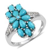 Arizona Sleeping Beauty Turquoise, Cambodian Zircon Platinum Over Sterling Silver Floral Split Ring (Size 7.0) TGW 2.76 cts.