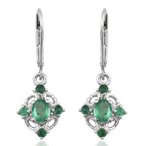 Premium Brazilian Emerald Platinum Over Sterling Silver Earrings TGW 0.96 cts.