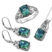 Peacock Quartz, White Topaz Platinum Over Sterling Silver Lever Back Earrings, Ring (Size 7) and Pendant With Chain (20 in) TGW 16.00 cts.