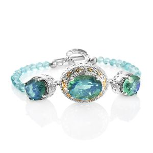 Peacock Quartz, Madagascar Paraiba Apatite, Cambodian Ziorcon 14K YG and Platinum Over Sterling Silver Beaded Bracelet with Toggle Clasp (7.50 In) TGW 33.77 cts.
