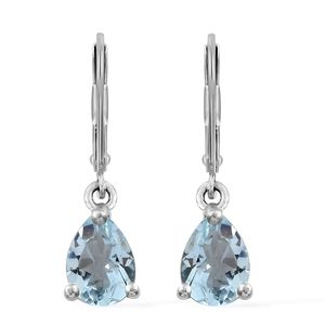Espirito Santo Aquamarine Platinum Over Sterling Silver Lever Back Earrings TGW 1.14 cts.