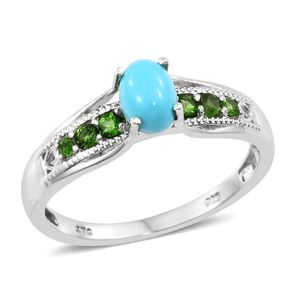 Arizona Sleeping Beauty Turquoise, Russian Diopside Platinum Over Sterling Silver Bridge Ring (Size 5.0) TGW 1.08 cts.