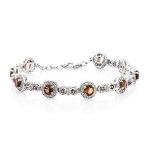 Mocha Scapolite, Jenipapo Andalusite, Cambodian Zircon Platinum Over Sterling Silver Bracelet (7.50 In) TGW 6.50 cts.