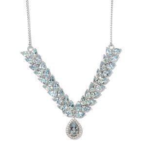 Premium AAA Espirito Santo Aquamarine, Cambodian Zircon Platinum Over Sterling Silver V-Shape Drop Necklace (18 in) TGW 14.34 cts.