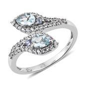 Premium AAA Espirito Santo Aquamarine, Tanzanite, Cambodian Zircon Platinum Over Sterling Silver Bypass Ring (Size 6.0) TGW 1.23 cts.