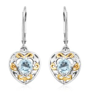 Espirito Santo Aquamarine 14K YG and Platinum Over Sterling Silver Openwork Heart Lever Back Drop Earrings TGW 0.90 cts.